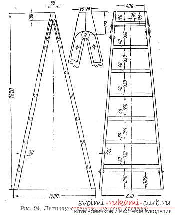 Assembly of a ladder made of wood with your own hands is a step-by-step instruction. Picture №3