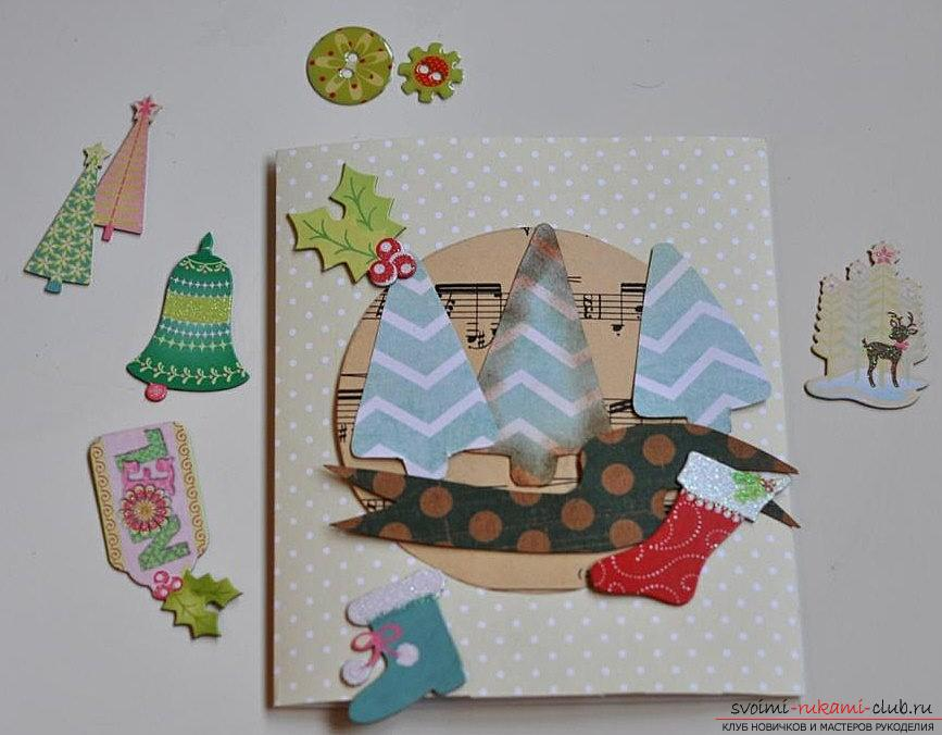 Master class on the scrapbooking of the New Year's card with your own hands - step by step instruction. Photo №5