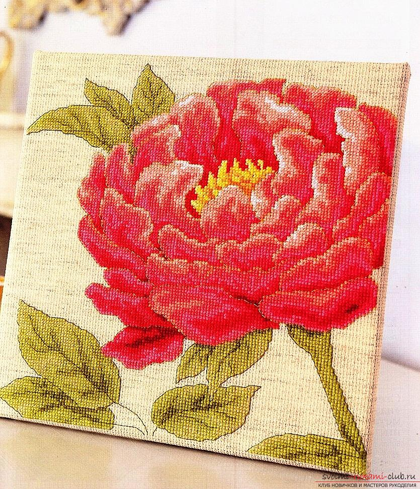 We embroider a cross of peonies: a detailed master class with a description and a photo. Photo №6