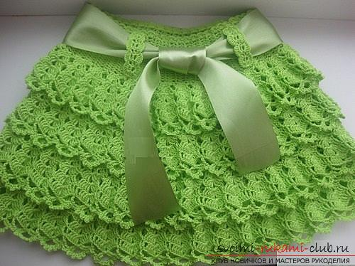 How to crochet for a girl skirt with frills in two versions and one smooth skirt. Photo №4