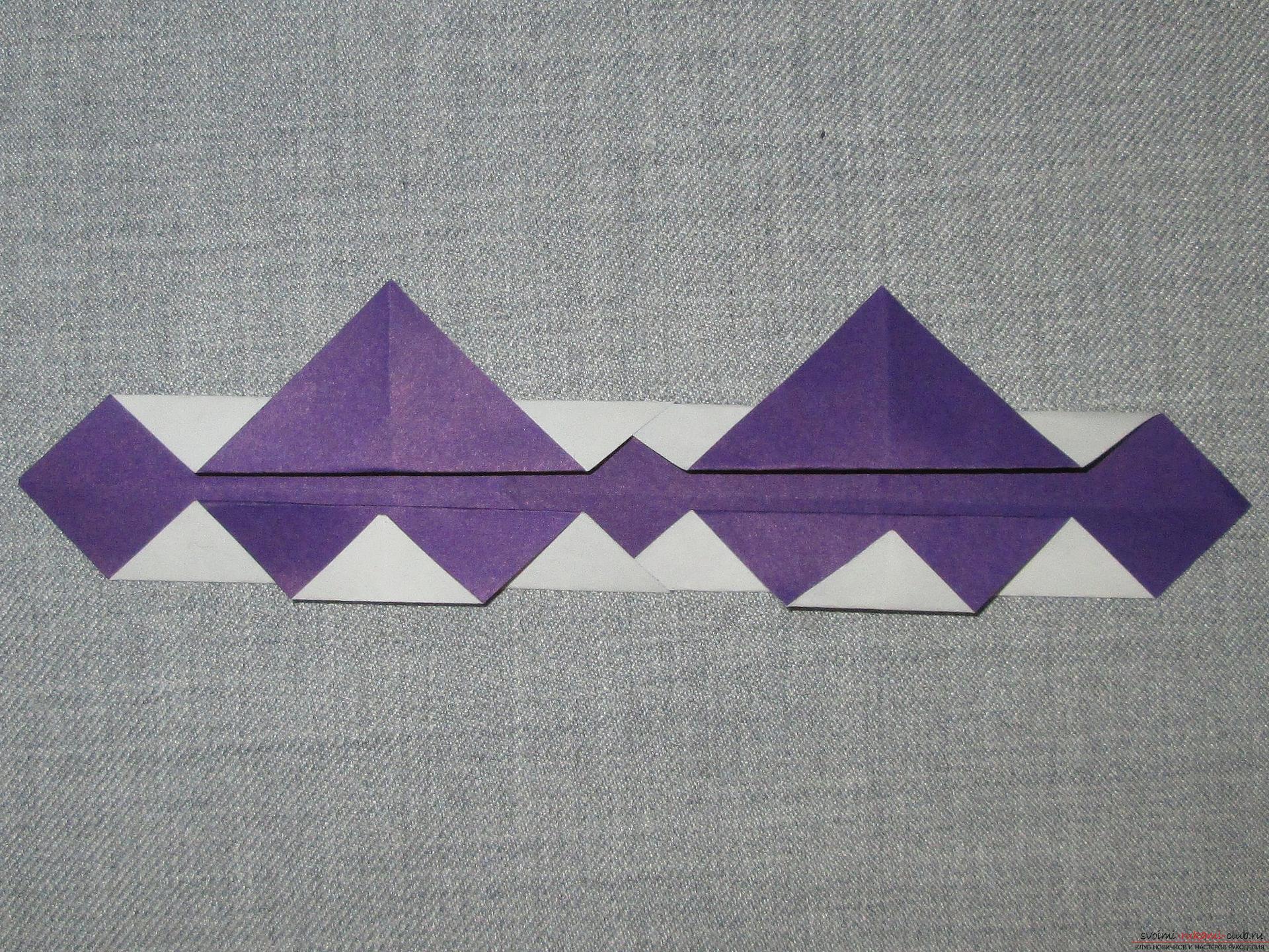 Deze gedetailleerde masterclass met foto en beschrijving leert je hoe je origami voor beginners kunt maken - origami-kroon gemaakt van papier .. Foto # 9
