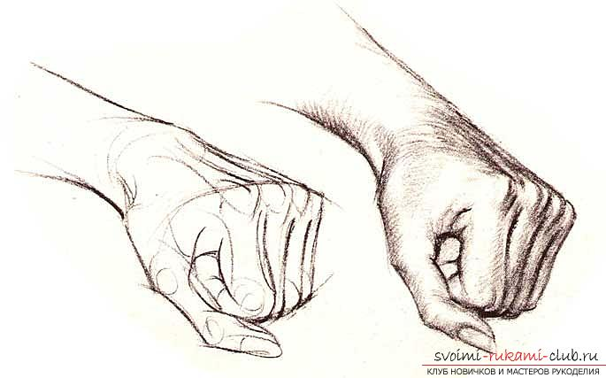Step by step drawing of a person's hand with a pencil. Photo №4