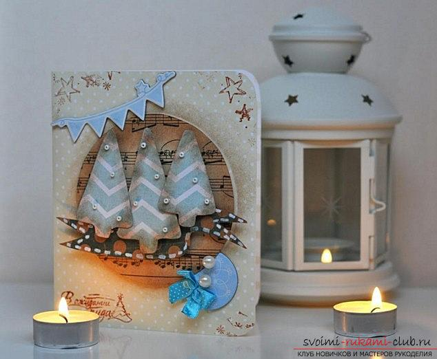 Master class on the scrapbooking of the New Year's card with your own hands - step by step instruction. Photo №8