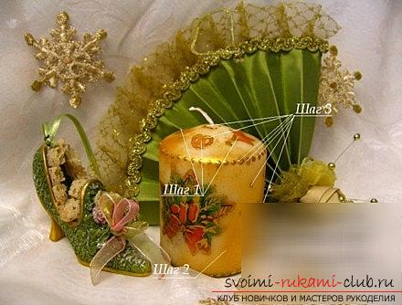 How to make a New Year's decoupage for a candle - a master class with your own hands. Picture №3