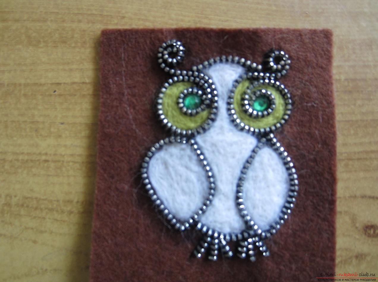 Master-class for making brooches from felt, wool, metal zippers and glue. Photo №13