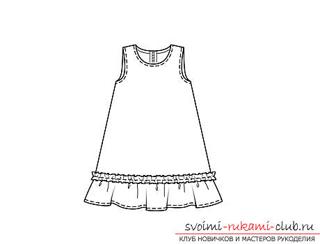 make a simple pattern of dresses for the girl with their own hands. Photo №1