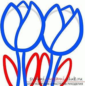Step-by-step drawing of spring flowers, tulips, with children. Photo №6