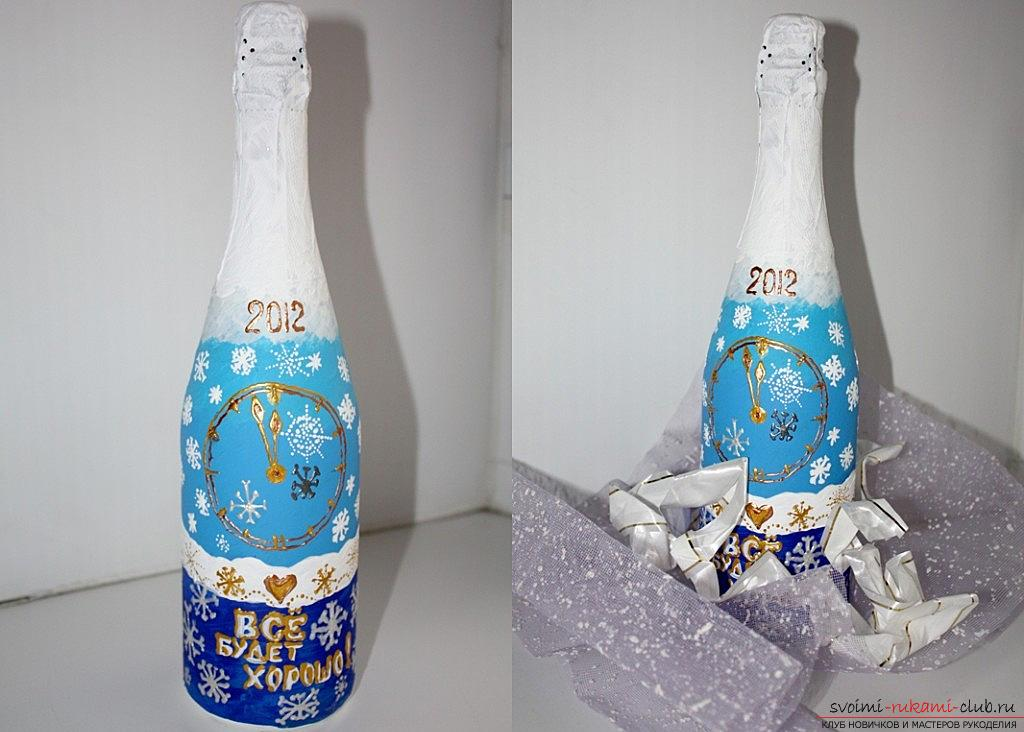 Painting on the glass bottles on the theme of New Year themes with their own hands - a master class. Photo №5
