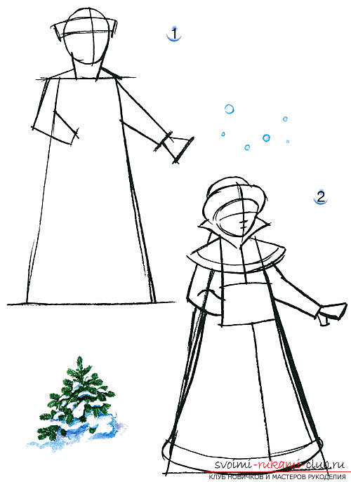 Draw a Snow Maiden, Santa Claus and herringbone with her own hands. Photo # 2
