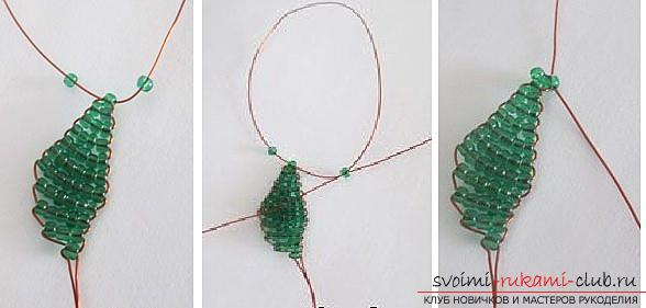 How to make a lilac branch of beads, step-by-step photos and a description of several weaving techniques for beaded floristics. Photo Number 18
