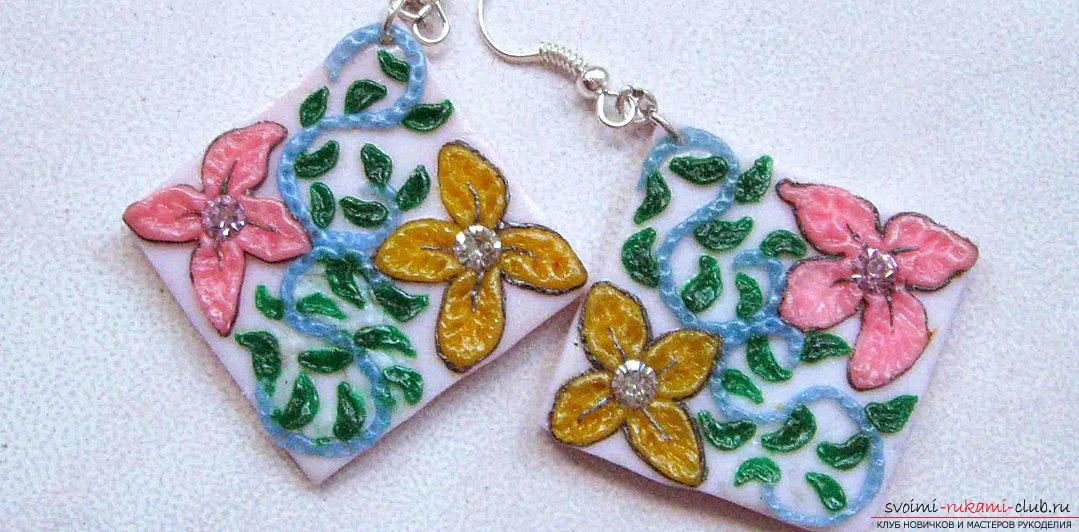 How to make pearl earrings with your own hands? Needlework made of polymer clay. Photo Number 9