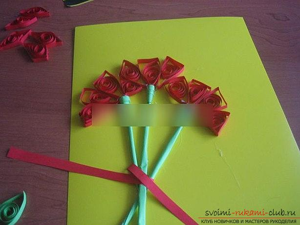 Quilling of a carnation for a postcard postcard, by May 9th with your own hands. Photo №6
