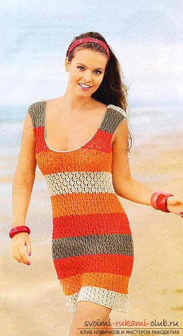 knitted knitting on a summer dress for women. Photo №1