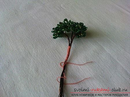 How to make a bonsai of beads with your own hands with turn-based photos. Photo №6