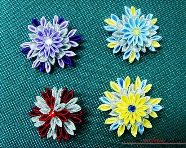 How to make a snowflake Kanzashi with their own hands for the New Year 2016. Photo # 8