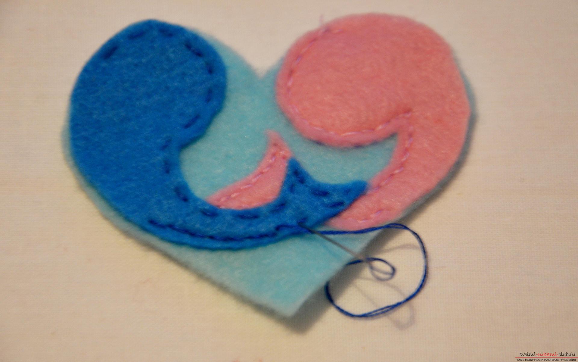 Deze masterclass leert op 14 februari hoe de originele valentines te naaien - vis uit vilt. Foto # 6