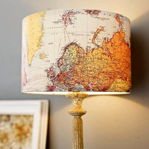 Lampshade with the map of the world