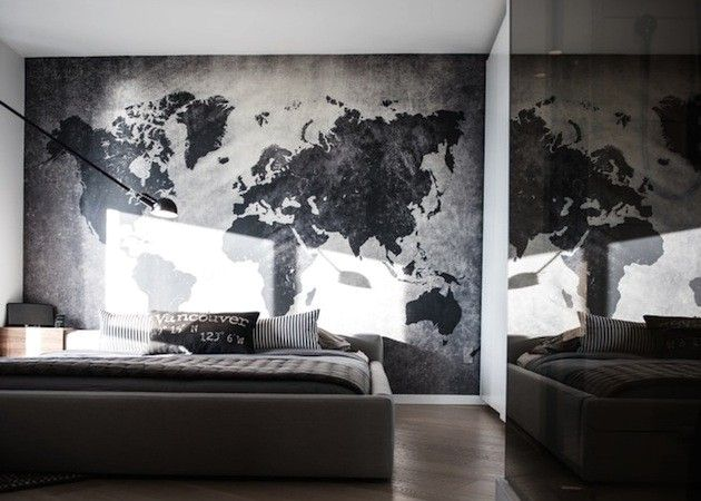 stylized world map in the interior of the bedroom