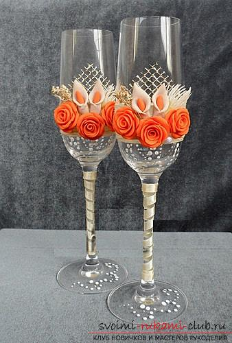 How to decorate glasses with polymer clay and how to make rings for napkins made of thermoplastic .. Photo # 12