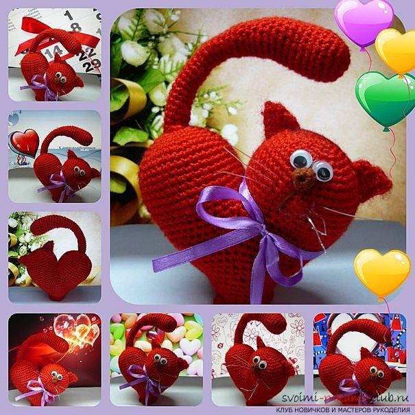 We knit an amigurumi cat in the shape of a heart with our own hands with a photo and description. Photo number 12