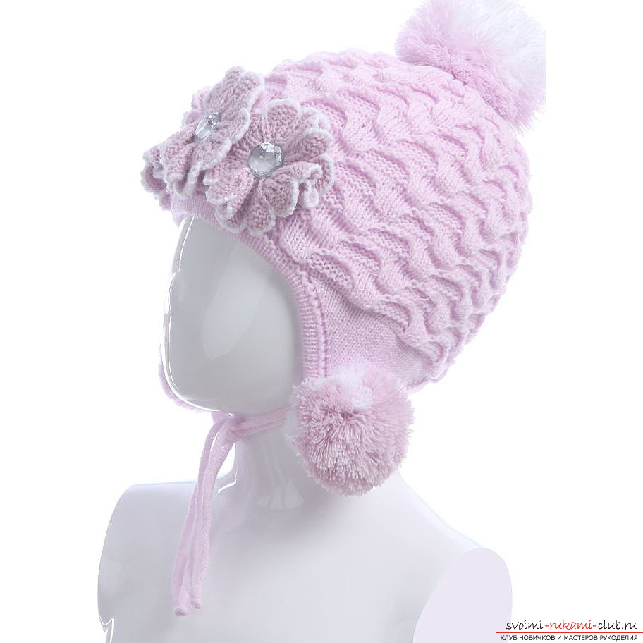 A wonderful pink hat for a girl will be a wonderful gift for your daughter, if you yourself knit her