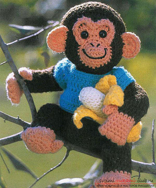 Monkey amigurumi with his hands with a step-by-step description and photo. Photo №5