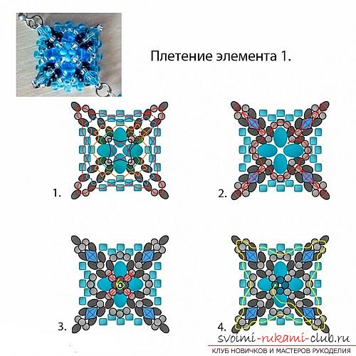Free master classes with step-by-step photos on weaving earrings from beads .. Picture №4