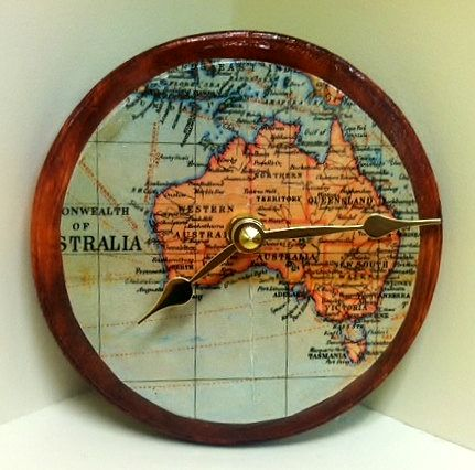 clock with map of Australia