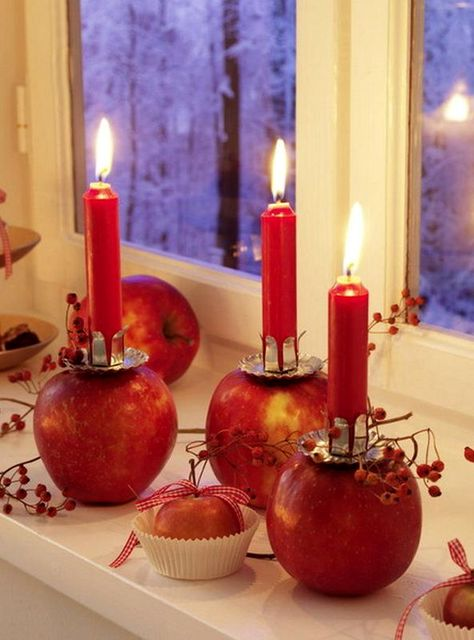 decor from apples - candlesticks