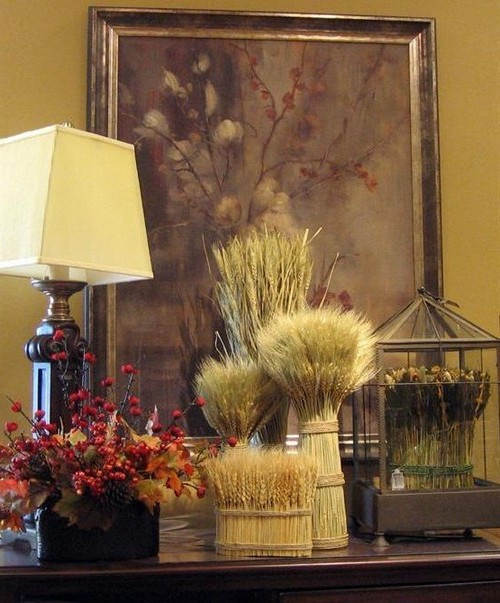 Spikelets in the autumn home decor