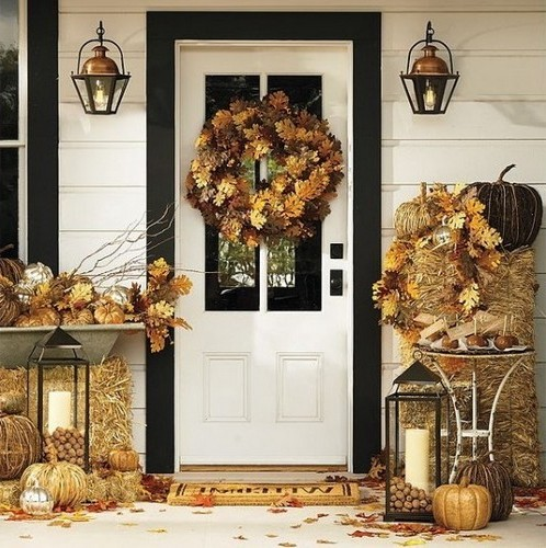 Autumn home decor made of leaves and gifts of nature