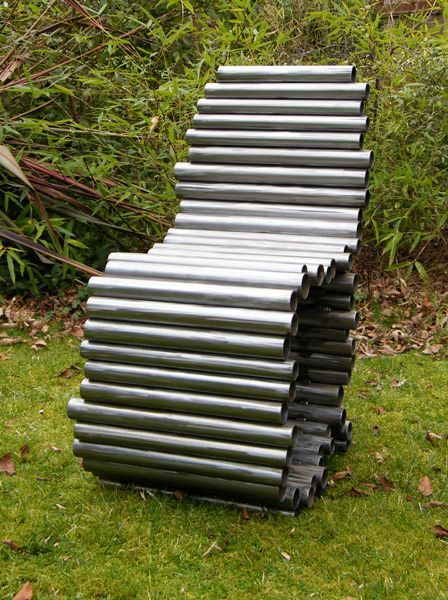 garden chair made of metal pipes