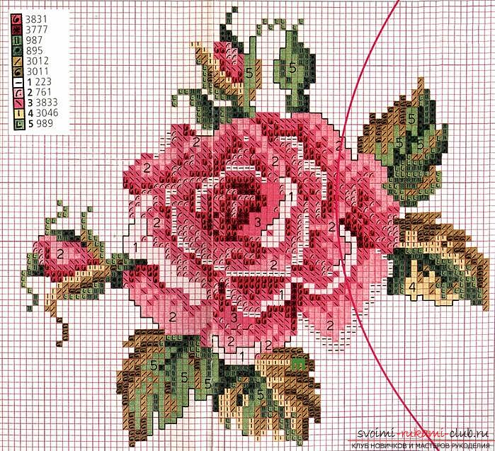 How to embroider a delicate rose with a cross quickly and easily. Picture №3