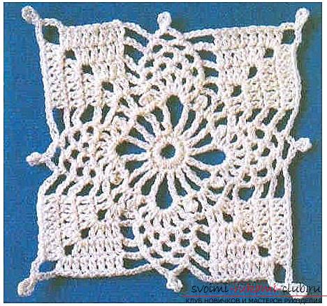 How to tie an openwork square with a crochet, an image, a diagram and a description of the work .. Photo # 3