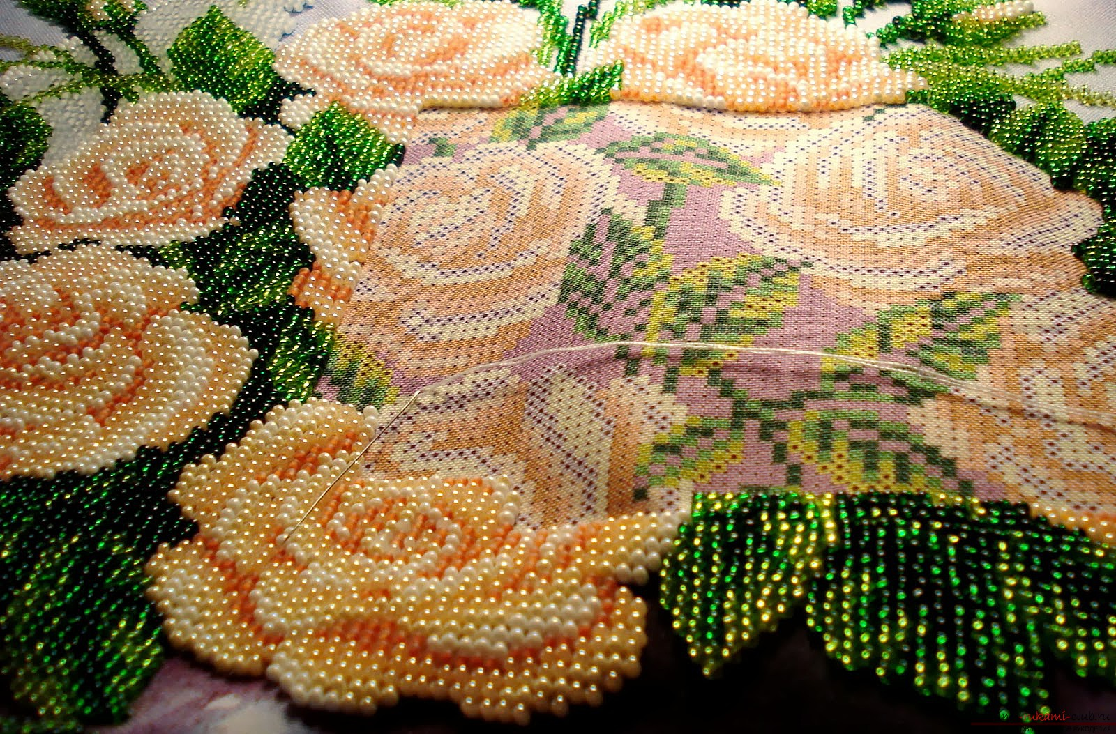 Flowers embroidered with beads. Picture №3