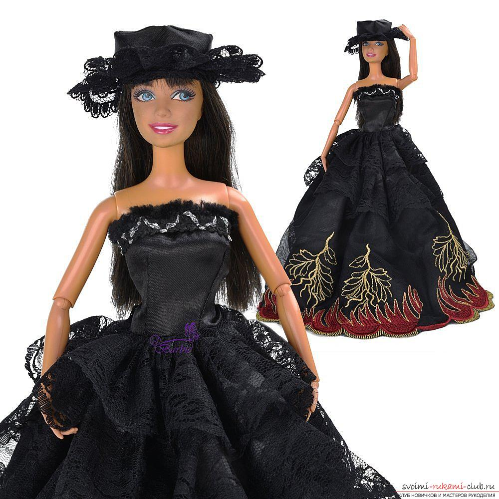 A pattern of an elegant black and white dress with a doll hat with your own hands. Photo №6