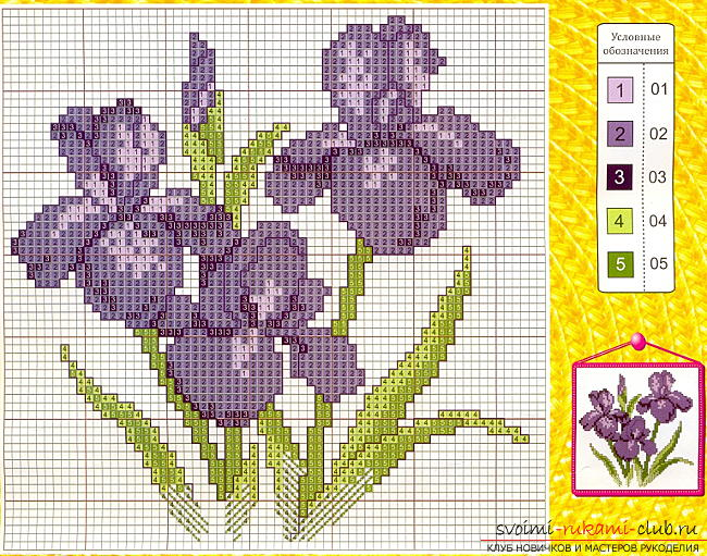 Cross-stitch embroidery of various colors by free schemes. Picture №10