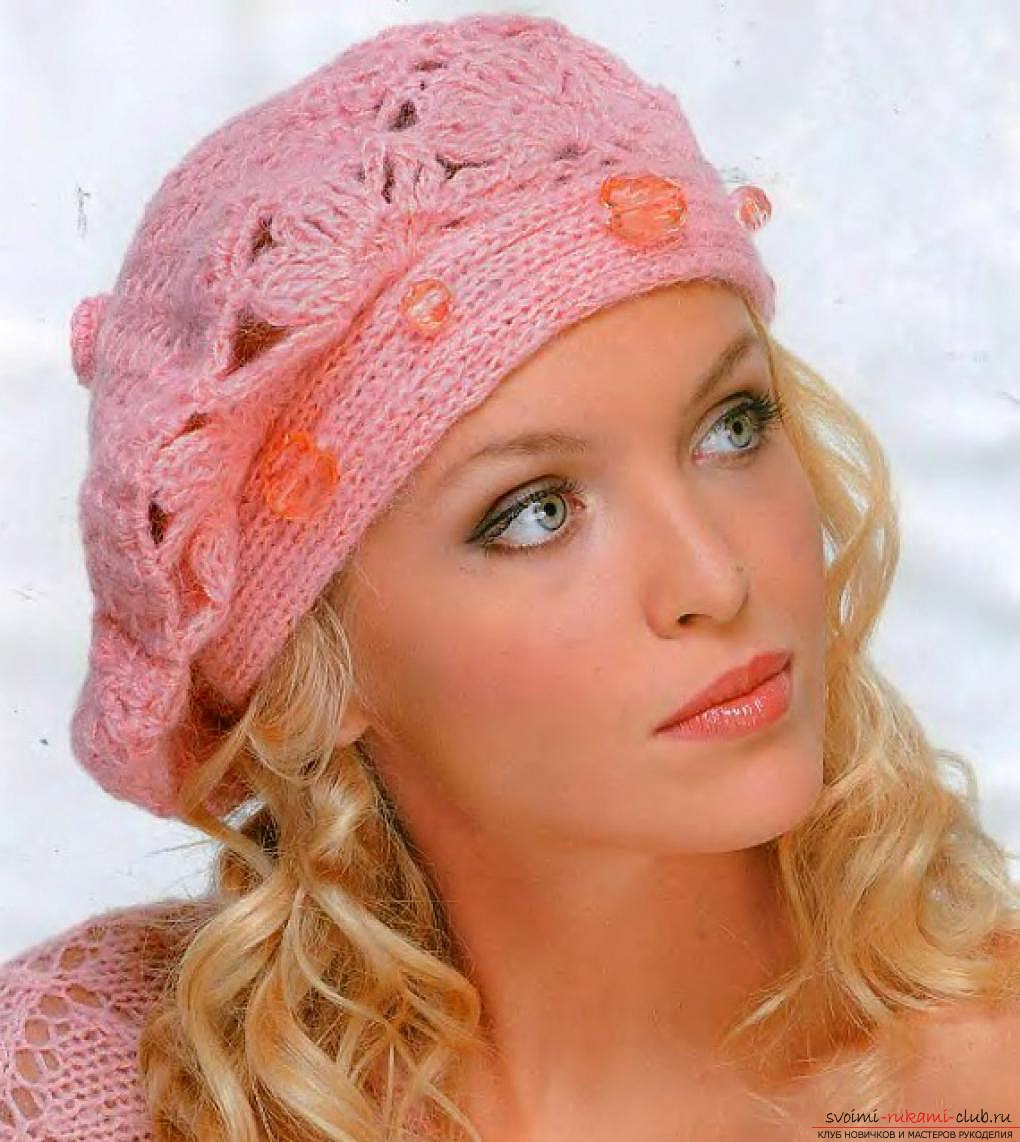 crocheted woolen fishnet hat. Photo №1