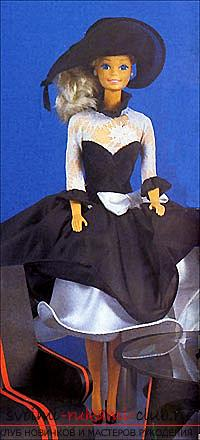 A pattern of an elegant black and white dress with a doll hat with your own hands. Picture №3
