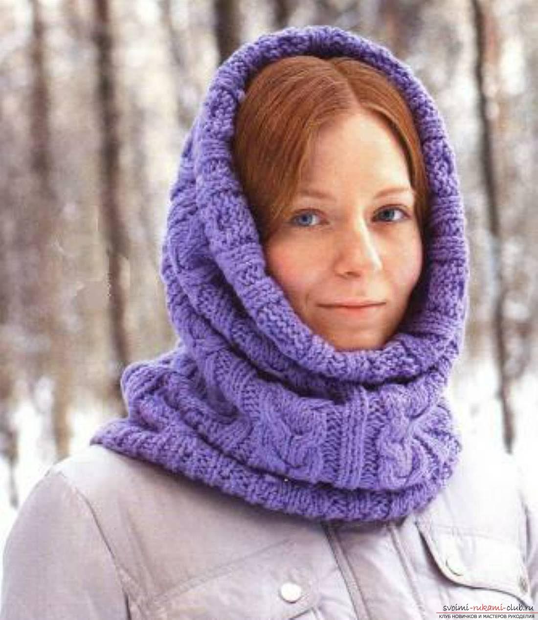 в'язаний спицями оригінальний жіночий шарф-труба. фото №1