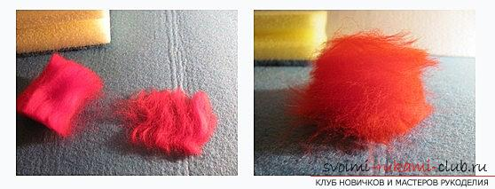 We make a ball with the help of dry felting with our own hands. Photo №1