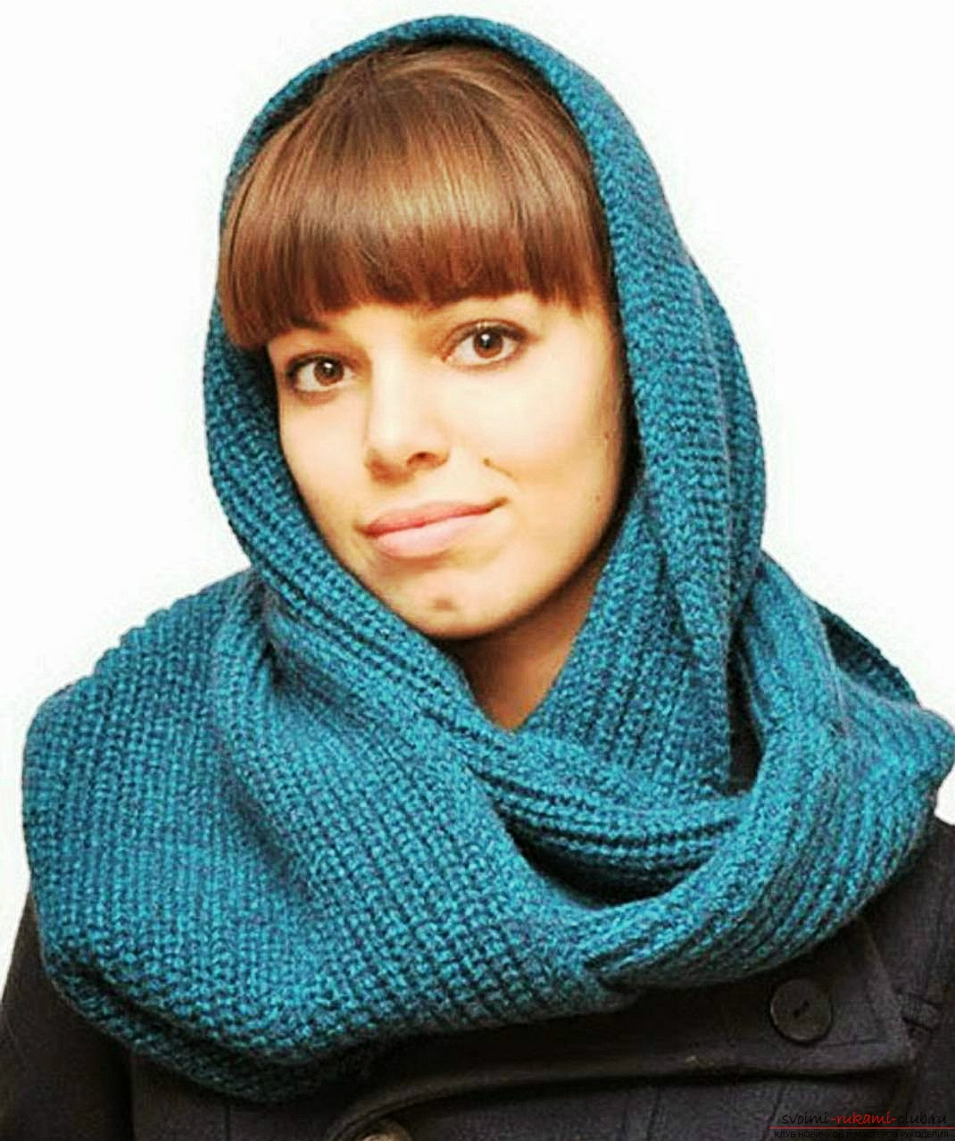 knitted knitting needles with a delicate openwork scarf-yoke. Photo №1