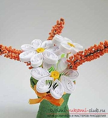 Quilling a bouquet in a flower pot with your hands - a step-by-step master class. Photo №1