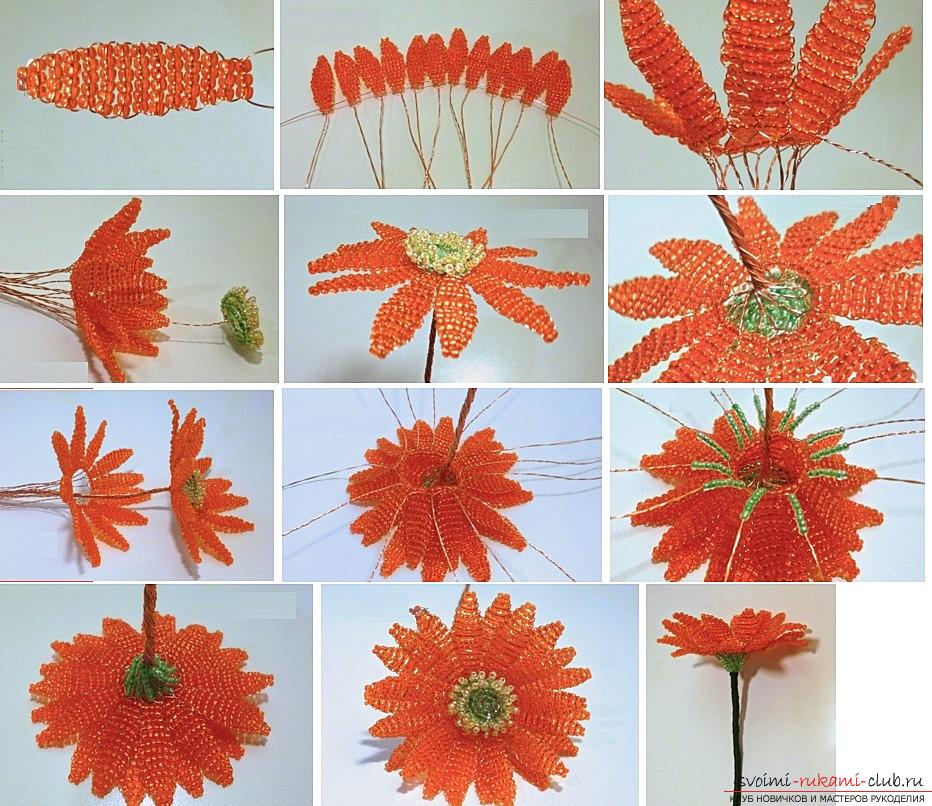 How to create a gerbera flower from beads in the technique of parallel weaving, step-by-step photos and description. Picture №3