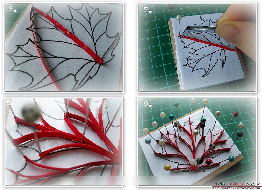 How to make a maple leaf by yourself? Quilling and master classes. Picture №3