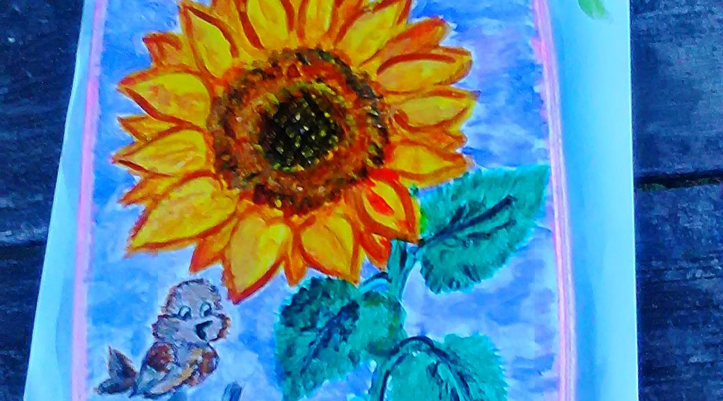 Painting Of A Cutting Board With Sunflowers