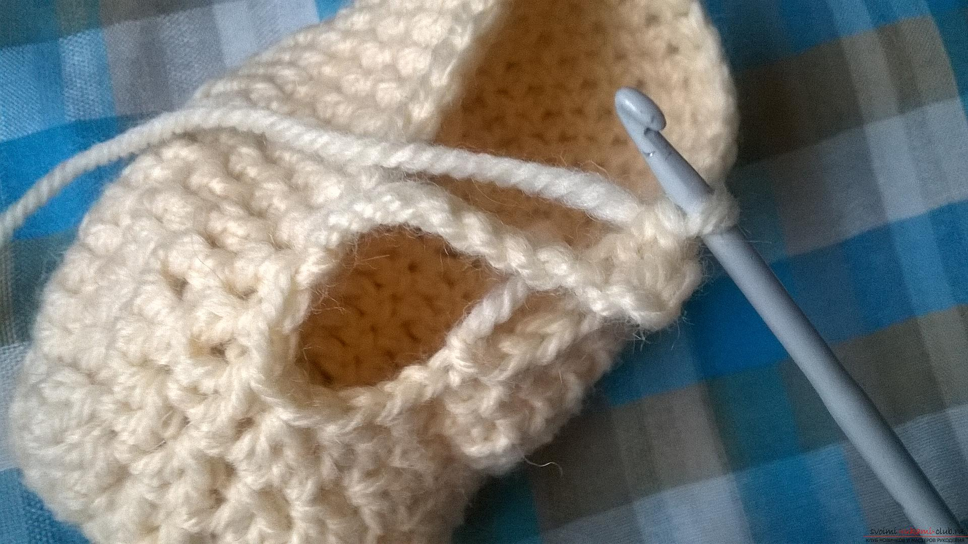 This master class with a description, diagram and video will teach how to knit booties crocheted .. Photo # 20