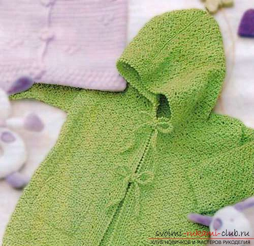 knitted green jacket for baby. Photo №1