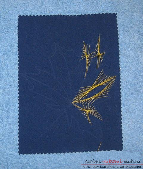 """We embroider the autumn leaf in the technique of """"isolate"""". Photo number 16"""