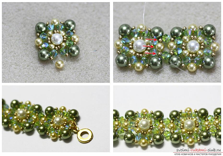 How to weave beautiful beads, detailed instructions, description and step-by-step photos for beginners in beadwork. Photo Number 19